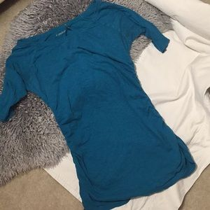Teal Ruched Fitted Boat Neck Long Tee